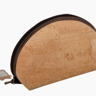 Cork Bag for Cosmetics with Leather Trim
