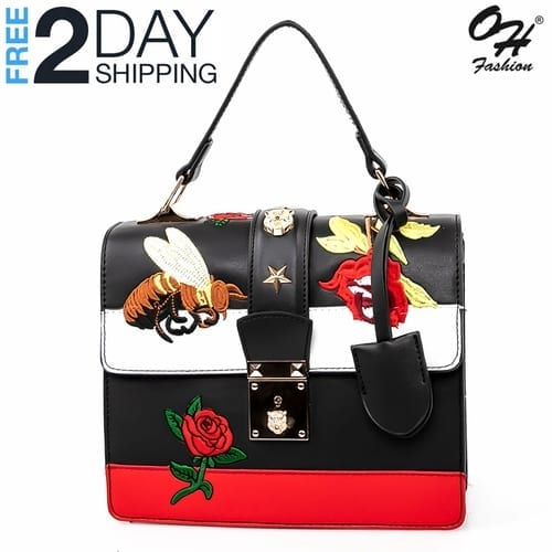 Fashion Top Handle Bag Edgy in Black - with Crossbody Strap 2