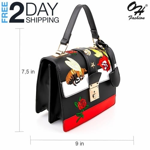 Fashion Top Handle Bag Edgy in Black - with Crossbody Strap 3