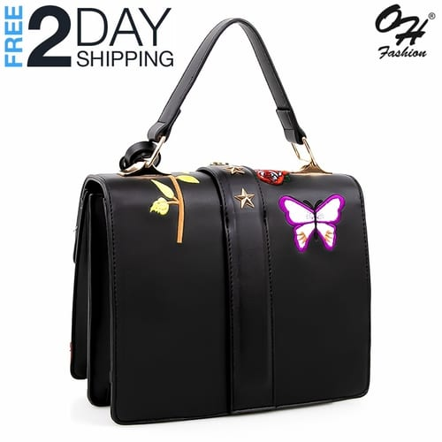 Fashion Top Handle Bag Edgy in Black - with Crossbody Strap 5